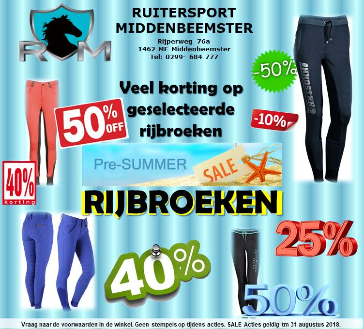 Pre summer SALE Rijbroeken. Ruitersport  Middenbeemster