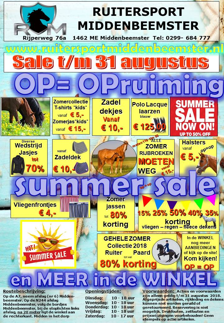 SUPER SUMMER SALE .Ruitersport Middenbeemster 2018