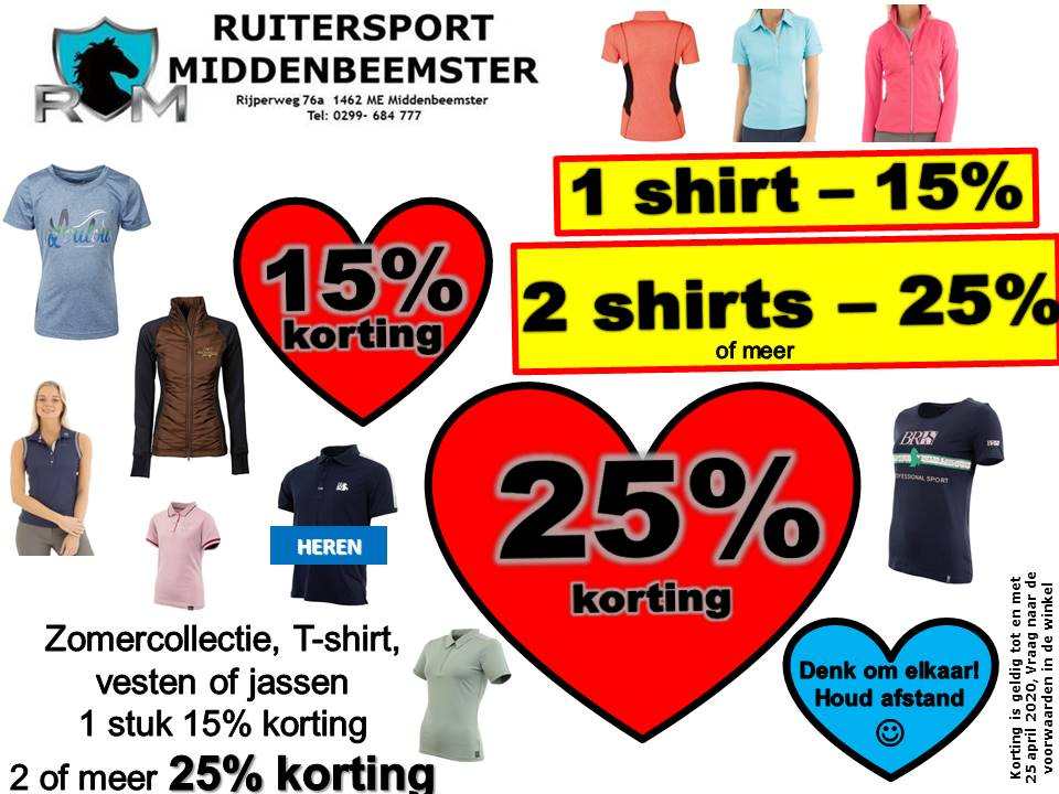 Zomercollectie KORTING tm 25 april 2020 Ruitersport Middenbeemster